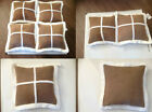 "BNWT LOVELY BROWN FAUX SUEDE SQUARE DESIGN LARGE CUSHION COVER 22"" X 22"""