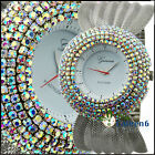 UK CH Quartz Pure Color Stainless Steel Wrist Watch Crystals Bling Rhinestone