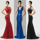 Golden Mermaid Sequins Party Prom Evening Gowns Dress Size 6 8 10 12 14 16 18 20