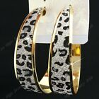 Fashion 6-12Pairs Big Leapord Frosted Gold Hoop Earrings Wholesale Jewelry Lots