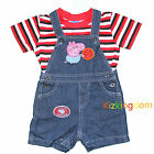 BNWT Peppa Pig  Summer Overall 2pcs outfit set Top + overall Jeans Size 1,2,3,4