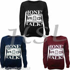Womens Ladies Money Talks Print Jumper Pullover Sweatshirt Top size 8-10 12-14