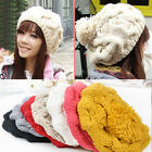 Girl's New Winter Knitting Wool Crochet Beret Caps Casual Warm Stylish Hats H05