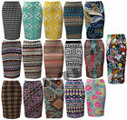 New Womens Aztec Elasticated Waist Knee Length Pull Up Pencil Bodycon Skirt 8-14