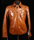 Harrison Tan Men's Gents Western Cowboy Style Real Cow Hide Leather Jacket