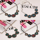 Retro Colourful Crystal Gems Necklace Exaggerated Short Chain Pendant For Gift