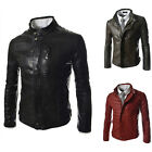 New Cool Stylish Short Men's Slim Fit Motorbike Thin Faux Leather Jacket