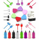 3in1 COLOUR MAINS PLUG + CAR CHARGER + 1M USB CABLE FOR IPHONE 4S 4 3GS 3G IPOD