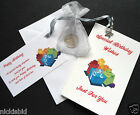 BIRTHDAY LUCKY SIXPENCE GIFT CARD, BAG, TAG & TIBETAN SILVER CHARM - (presents)