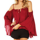 Sexy Off Shoulder Spaghetti Straps Blouse Red Women Loose Pleated Chiffon Shirt