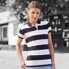 Front Row Womens Slimmer Fitting Short Sleeve Striped Pique Polo Shirt/Top S-2XL