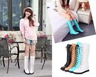 Punk Lace Ups Womens Chic Round Toe Hidden Heeled Knee High Riding Boots Shoes