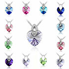 Fashion Womens Heart Pendant Silver Plated Crystal Rhinestone Chain Necklace Hot