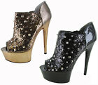 Betsey Johnson Studdlee Peep Toe Studded Booties Womens Shoes