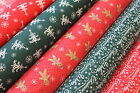 CHRISTMAS (XMAS) WISHES & STARS - PRINTED POLY COTTON FABRIC - WIDTH 112 CM