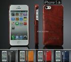 Brown Black leather back cover case with credit card slots for Apple iPhone 6 5