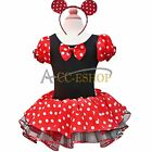 Minnie Mouse Girls Xmas Halloween Party Costume Ballet Tutu Skirt Dress Up +Ears