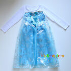 DISNEY FROZEN Elsa DRESS COSTUME DRESS UP & CAPE SZ 3-10