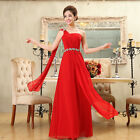 Bridesmaid One shoulder Chiffon bridal formal toast Plus Size Long design Dress