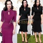 Elegant Women Celeb Vintage Tunic Cocktail Party Prom Evening Mermaid Midi Dress
