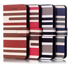 Hot Style For 4.7'' iPhone 6 Mixed Color Stripe Style PU Leather Case Cover