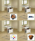 FC671 NFL THEME SLIDE UNDER FROSTED GLASS SHELF TV TRAY MAGAZINE RACK FREE SHIP
