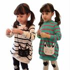 2pcs Set Girls Kids Striped Top Shirts Dress Cat Leggings Pants Outfits Clothes