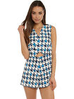 Finders Keepers Eye Spy Playsuit in White & Blue Houndstooth Print NEW