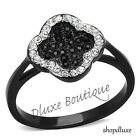 Women's Round Cut CZ Black Stainless Steel Halo Clover Fashion Ring Size 5-10