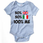50% BRITISH 50% ITALIAN 100% ME - UK / Italy / Europe / Novelty Themed Baby Grow