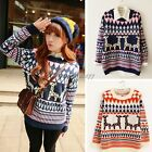 Women Knitted Stripes Christmas Deer Pullover Jumper Loose Sweater Knitwear NEW