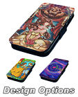 Stained Glass Beauty and the Beast - Printed Faux Leather Flip Phone Cover Case
