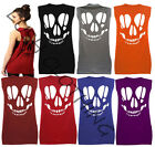 B19-LADIES BACK CUT OUT SKULL SLEEVELESS OVERSIZE SLOUCH FIT VEST TOP-HALLOWEEN