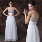 Elegant Long Beaded A-Line Formal Evening Bridal Dress Prom Bridesmaid Dresses