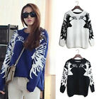 Europe Style Womens Hawk Print Thick Pullover Knitting Sweater Jumpers Cardigans