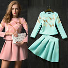 Vintage Women's Bodycon Causal Long Sleeve T-Shirt + Skirt Plus Size Tops Blouse
