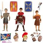 BOYS ROMAN ARMOUR SHIELD SWORD HELMET CENTURION SOLDIER KIDS FANCY DRESS COSTUME