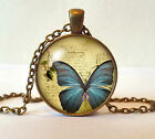 Antique Bronze Finish Vintage Butterfly Pendant Necklace + Box - Many Designs