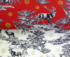 Christmas fabric Festive Reindeers Stag Woodland Snowflakes 100% Cotton Fabric