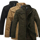 Mens Winter Jacket Military Fleececoat Trench Stand Collar Outerwear Overcoat