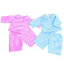 TWIN BABY DOLL GINGHAM PYJAMAS  2 SIZES AVAILABLE PINK AND BLUE BY FRILLY LILY