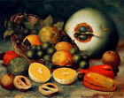 9921.Still life of fruit in basket.oranges.limes.POSTER.home decor graphic art