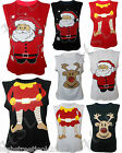 New Womens Ladies Sleeveless Xmas Reindeer Novelty Santa Father Top T Shirt Vest