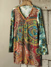ULLA POPKEN Stretch Cotton Ethnic Paisley Print Embroidered Tunic 24/26 to 32/34