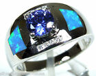 6mm Tanzanite & Blue Fire Opal Inlay 925 Sterling Silver Solitaire Ring Sz 6-9