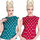 Hell Bunny Dotty Blouse Top Rockabilly Pin Up Office Polka Dot Retro Vintage