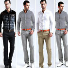 MENS CLASSIC STRAIGHT SLIM FIT COTTON BUSINESS TROUSERS CASUAL LONG PANTS #WR4