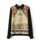 Women Leopard Chiffon Floral Totem Long Sleeve Blouse Lapel Collar Top Shirt itS