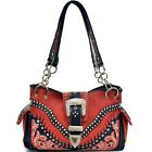 Floral Embroidered Western Rhinestone Buckle Shoulder Bag Women Leather Handbag