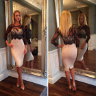 Sexy Women Sheer Lace Splicing Long Sleeve Bodycon Clubwear Cocktail Party Dress